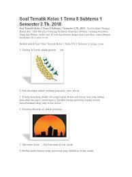 Soal tematik kelas 3 tema 3 subtema 1 aneka benda di sekitarku (download). Dokumen Serupa Dengan 378395576 Soal Tematik Kelas 1 Tema 8 Subtema 1234 Semester 2 Th Pdf