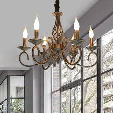 Farmhouse Chandelier Lighting Ganeed Rustic French Country Chandelier 6 Lights Metal In Antique Bronze Farmhouse Chandeliers Vintage Pendant Light Fixture