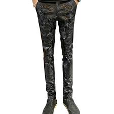 2019 whole moruancle mens faux leather pants pu motorcycle ridding suede trousers slim fit biker leather joggers for male size 28 36 from rebecco
