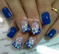 Blue Flower Nail Designs Pin By Candace Smith On Nail Designs Nails Nail Designs