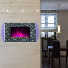 wall mount electric fireplace heater in green tempered glass