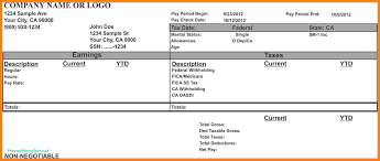 Pay Stub Templates 24 paycheck stub template for excel Samples Of Paystubs 1