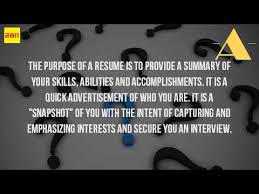 What Is The Real Purpose Of A Resume YouTube Beauteous Purpose Of A Resume