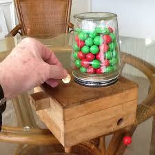 child s wooden coin operated gumball machine
