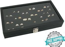 jewelry box holder tray 72 ring display case organizer glass top black latch lid