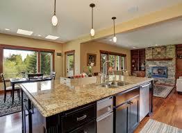 modern kitchen counter. Interior Decoration:Modern Open Plan Kitchen With Rectangle Black Island Feat New Venetian Gold Modern Counter T