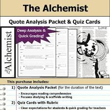 the alchemist teaching resources teachers pay teachers  the alchemist quote analysis reading quizzes