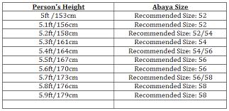 Size Chart Abaya World