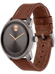 movadomens bold brown leather strap watch 3600378
