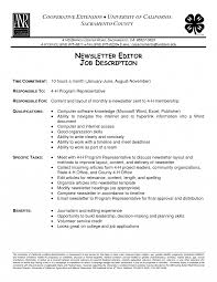 Photo Editor Job Description Newsletter Editor Job Description 24 Photo Description Template 1