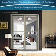 new design decorative double layer glass panel interior aluminum hanging sliding door