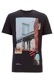 BOSS - Regular-fit T-shirt with mixed <b>printing</b> techniques - <b>Hugo Boss</b>