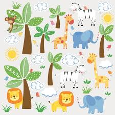 roommates jungle friends wall stickers