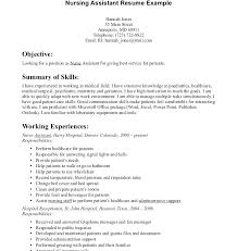 Nurse Assistant Resume Enchanting Objective For Nursing Assistant Resume Resume Examples Skills For S