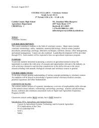 revised august 2015 course syllabus veterinary science grade level ob gyn resume