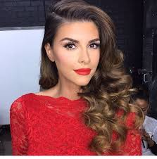 elegant red dress makeup reception hair more