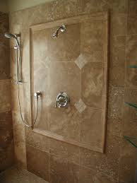 bathroom tile ideas travertine. Grand Travertine Marble Shower Views For Wall Installations Also Chrome Mount Head Added Single Handle Taps Designs Bathroom Tile Ideas