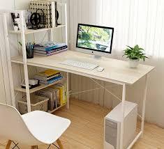 exceeder ii large workstation wood steel computer desk with storage shelves white