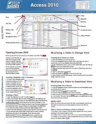 access cheat sheet microsoft access 2010 laminated quick reference guide cheat sheet