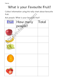 Tally Chart Of Favourite Fruit Esl Worksheet By Jessicapatti