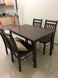 Dining Table And 4 Chairs Solid Rubber Wood Home Furniture
