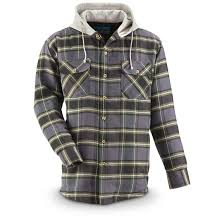 Men's Quilt-Lined Hooded Flannel Shirt - 665227, Shirts at ... & Men's Quilt-Lined Hooded Flannel Shirt, Green Adamdwight.com