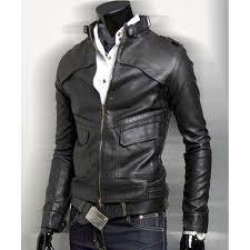 mens slim fit black faux leather biker jacket
