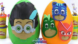 Огромные Play Doh Яйца Сюрпризы <b>PJ Masks</b> Ромео и Кэтбой ...