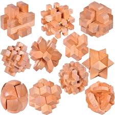 Wooden Games For Adults Good Quality IQ Wooden Interlocking Puzzle Mind Brain Teaser Beech 17