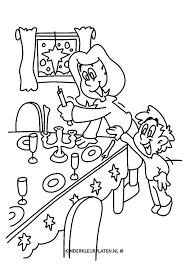 Kleurplaat Tafeldekken Gedekte Tafel Feestdagen