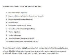 the merchant of venice igcse whole text question essay plans by revision