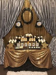 black and white stripes with gold sparkle dinner party see more party planning ideas at catchmyparty com