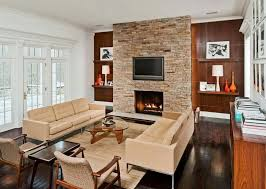living room admirable mid century modern living room with stone tile wall also wood burning