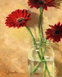 my son and his wife bought me these beautiful gerbera daisies there were orange pink and these deep red ones i just had to paint them