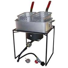 54 000 btu propane gas outdoor cooker with rectangular aluminum fry pan and two baskets