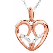 diamond accent heart pendant in 10k rose gold by jessica simpson