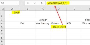 Excel Kalender Excel Jahreskalender 2019 Mit Kw Erstellen Jahreskalender 2019