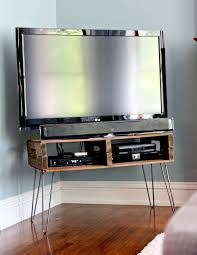 Pallet TV Stand with hair pin legs and natural stain @ preparing for peanut