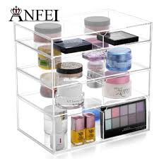 anfei high quality acrylic makeup organizer rangement cosmetic organizer storage drawers makeup case 4 layers with