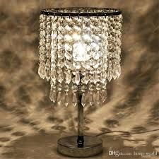 chrome round crystal chandelier bedroom nightstand table lamp led night light bedside desk lamps for wedding living room dining from china