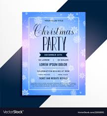 christmas event flyer template snowflakes christmas event party flyer template vector image