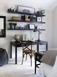 black home office shelves over the desk for decors in neutral walls