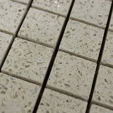 quartz star stone cream mosaic floor tile up close