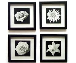 black framed floral wall art