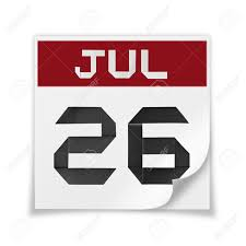 Calendar 26 Background White A July Of On