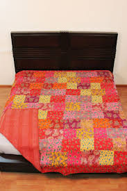 9 best Patchwork Bed throws / Bed spreads images on Pinterest ... & Colorful Patchwork Comforter Bedding Washable Queen Size Kantha Throw/summer  Blanket Adamdwight.com