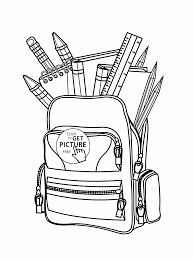 Back To School Full School Bag Coloring Page For Kids Educational