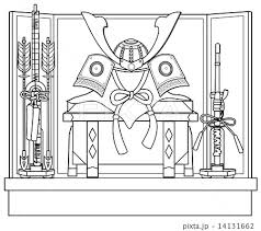 兜飾り塗り絵のイラスト素材 14131662 Pixta