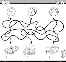 車の塗り絵を幼児教育パスまたは迷路パズル活動の黒と白の漫画イラスト