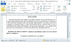 Workplace Accident Report Form Template Injury Templates ...